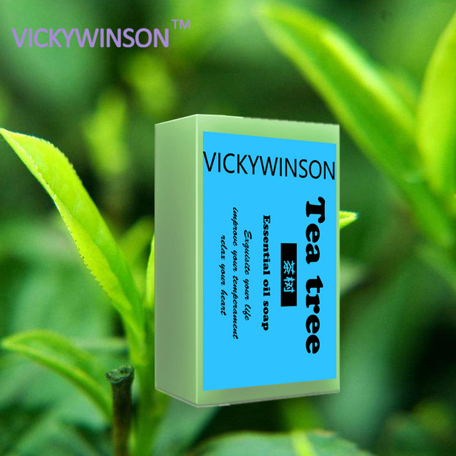 VICKYWINSON Tea Tree Essential Oil Handmade Soap Wrinkles Bath Soap Cold deal for removing the build up oil dirt 50g XZ2