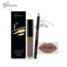 Nice Face Brand Matte Liquid Lipstick + Lip liner Kit Lips Maquillage Sexy Woman labiales Nude Lipstick matte lip gloss Lips kit