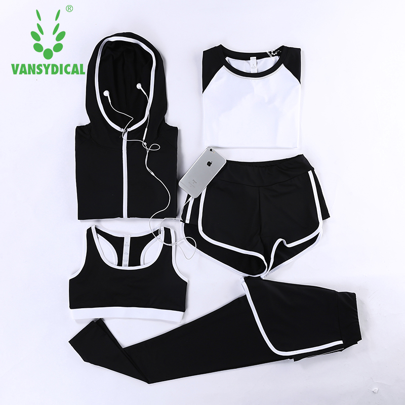 Women's Track Suits Tights Leggings 5 Piece Women Gym Fitness Yoga Suit Sport Costumes For Women Jogging Sportswear running sets fitness workout clothing and women s gym sports running girls slim leggings tops women yoga sets bra pants sport suit for female