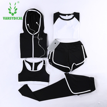 Women s Track Suits Tights Leggings 5 Piece Women Gym Fitness Yoga Suit Sport Costumes For