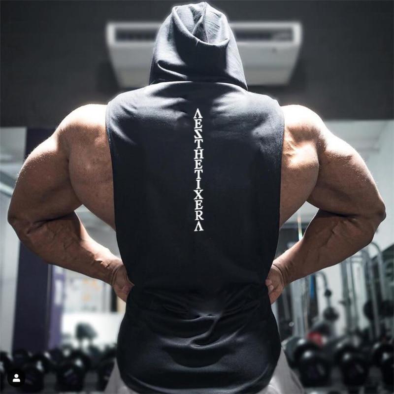 Muscleguys Brand Gyms Clothing Fitness Hooded Tank Top Men Bodybuilding Stringer Tanktop Workout Singlet Sleeveless Hoodie Shirt