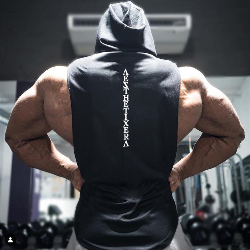 Muscleguys Brand Gyms Clothing Fitness Hooded   Tank     Top   Men Bodybuilding Stringer Tanktop Workout Singlet Sleeveless Hoodie Shirt