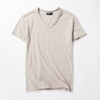 Summer Mens Cotton T Shirt Plain White Breathable V Neck Vintage Retro Tees Tops Teeshirts Tshirts