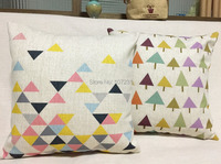 Ikea 45x45cm Cushion Cover Linen Cotton Throw Pillow Case Pastal Triangle Home Decorective Cover Zip Closure