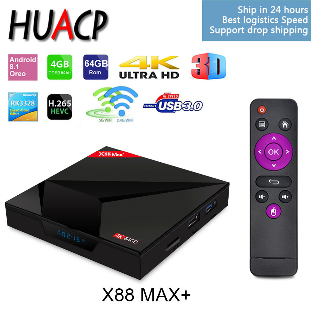 HUACP X88 MAX PLUS + gratuit G10 mouche souris RK3328 4 GB 64 GB Android 8.1 Smart TV BOX 4 K IPTV mi SET-TOP mi X96 A5x s'abonner