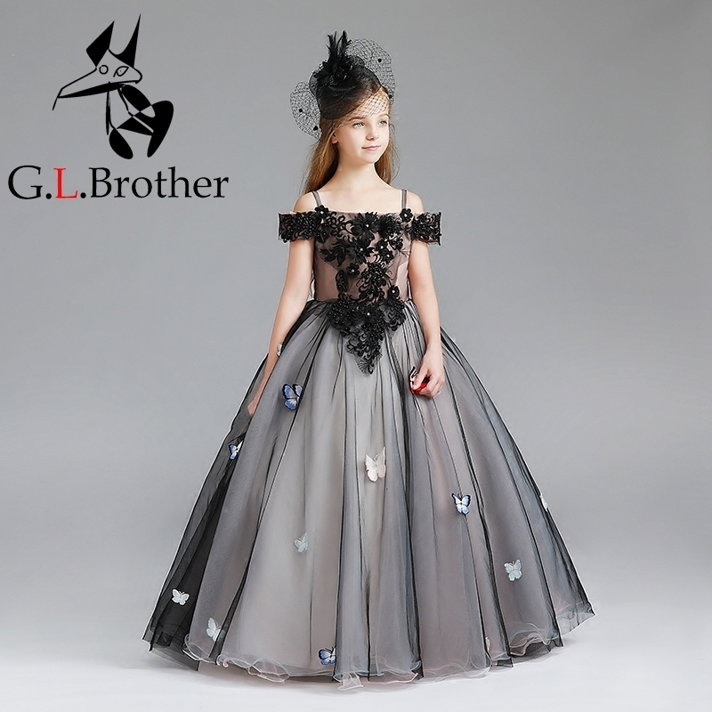 Royal Black Flower Girls Dress 2018 New Princess Dresses For Wedding Party Children Tulle Ball Gown Birthday Pageant Dress D107 цены онлайн