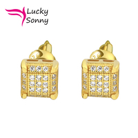 USA Miami Women Men Square Stud Earring With AAA CZ Cubic Zircon Diamond Iced Out 925