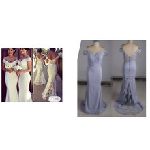 Sexy Bridesmaid Dresses Mmermaid Style Lace Delicate Appliques  Long Dress To Formal Party V-neck Spaghetti Strap