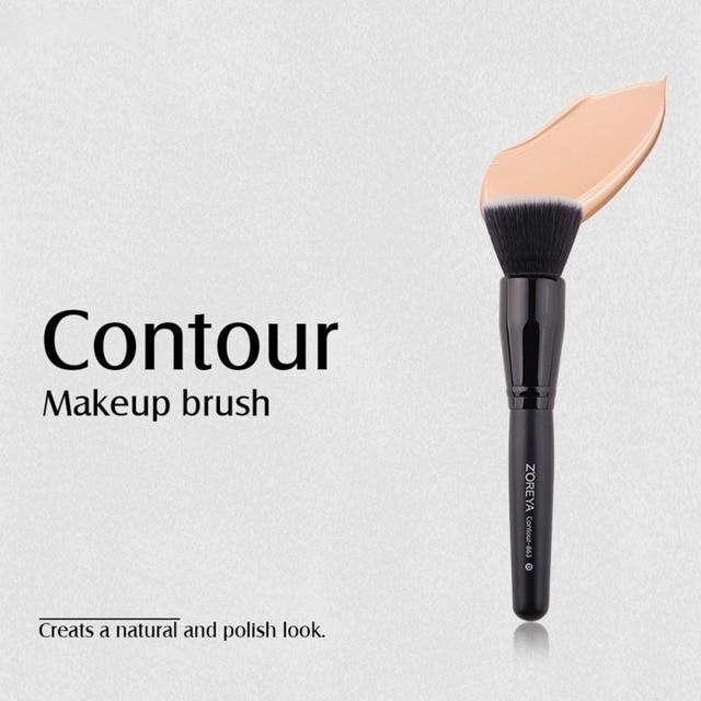 Brochas de maquillaje de fibra hecha a mano mango de madera negro brocha de contorno herramientas de maquillaje de belleza Q1