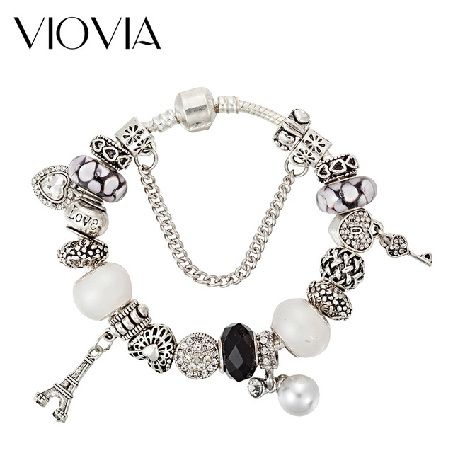 Viovia Eiffel Tower Charms Beads Fit Original Bracelet Bangle With Simulated Pearl Charm For