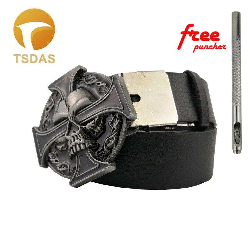 Luxury Men Belt Buckles Metal Skull & Cross Mens Designer Silver Belt Buckles New Year Gifts 1pc Free Shipping