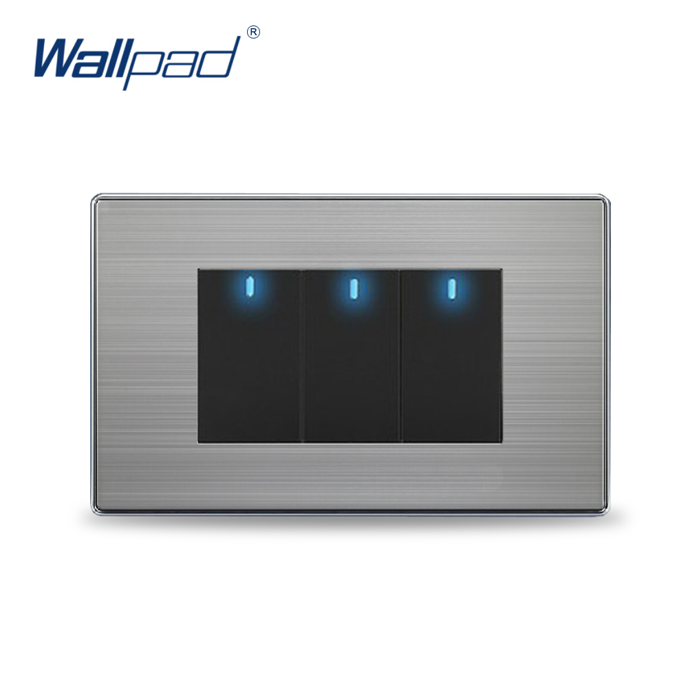 New Arrival 3 Gang 2 way Wall Light Switch Wallpad Luxury Push Button Wall Switches With LED Indicator 2 Colors 10A AC110-250V lediary led lighting switch stainless steel 1 gang 2 gang 3 gang 4 gang and 1 way 2 way push button wall switches 50v 440v