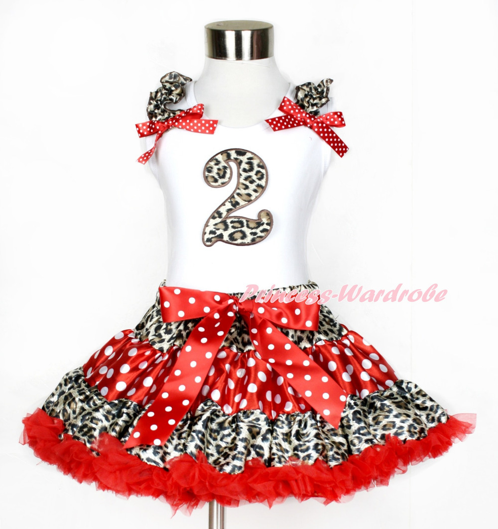 White Tank Top, 2nd Leopard Birthday Number,  Leopard Ruffles & Minnie Dots Bows With Leopard Minnie Dots Red Pettiskirt MAMG836 xmas white tank top 2nd sparkle red birthday number with red snowflakes ruffles