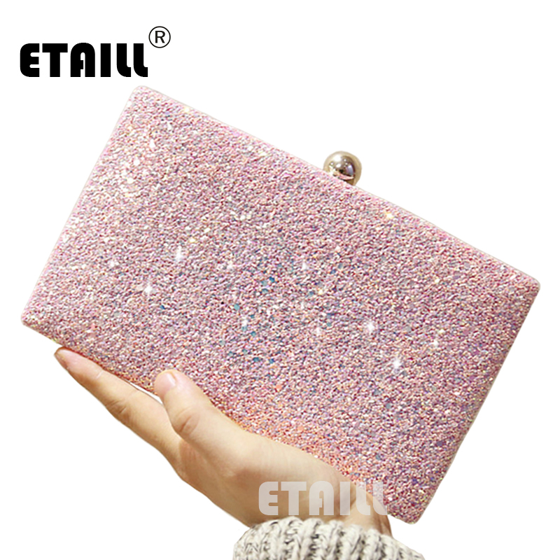 ETAILL Simple Glitter Sparkling Full Sequins Evening Bag Wedding Bride Shoulder Bags Party Day Clutches Purses Chain Handbags 2017 new luxury diamonds women day clutches bag ladies single shoulder handbag bride wedding party evening bags handbags purses
