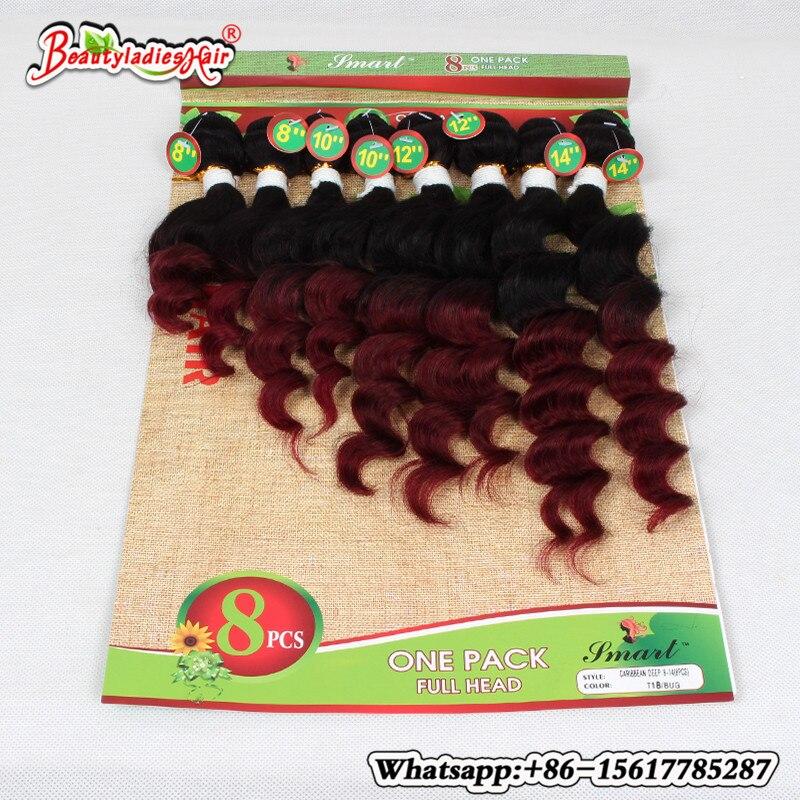 Naturlig Mänsklig Afro Kinky Curly Hair 8 st / lot Brasilian Kinky - Syntetiskt hår - Foto 1