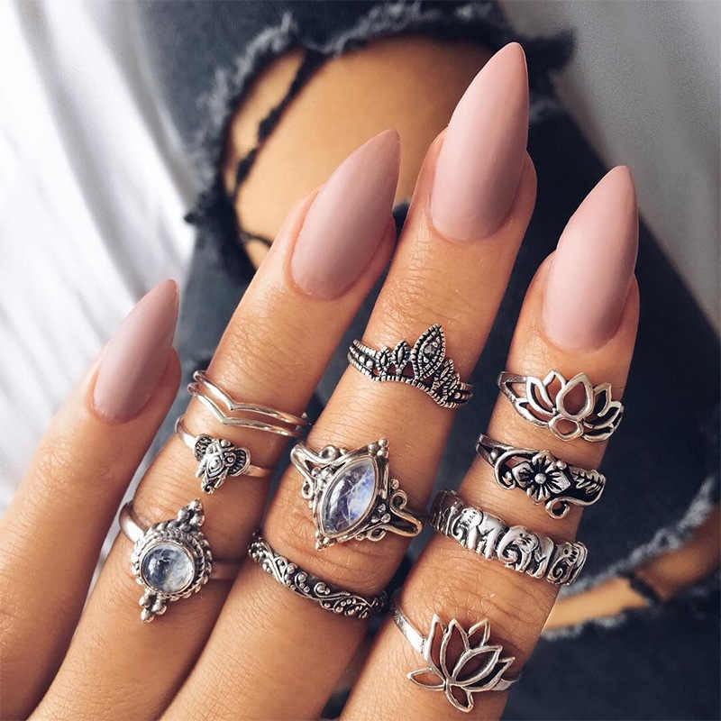 10pcs/Set Retro Boho Elephant CYS Rings Sets For Woman Tibetan Silver Crystal Hollow Heart Anel vintage Jewelry Rings Lot VR413