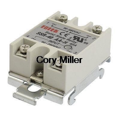 35mm DIN Rail Mount AC Control 40A Solid State Relay SSR SSR-40AA-H 80-280V 4 20ma to ac 28 280v 25a one phase 35mm din rail socket solid state relay