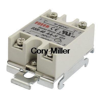 цена на 35mm DIN Rail Mount AC Control 40A Solid State Relay SSR SSR-40AA-H 80-280V