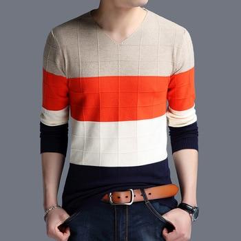 2018 Autumn And Winter Orange Blue Patchwork Knitwear Fashion Sweaters Men Casual Wear  Korean Sweater Men