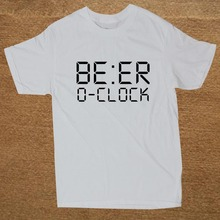 Brand Clothing BEER O'CLOCK Drinking Party Joke Funny T Shirt Men Short Sleeve T-shirt Top Tees Camiseta