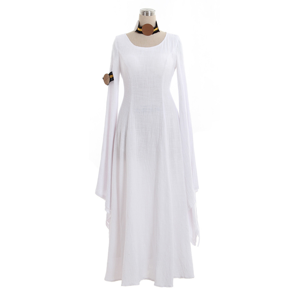 Unique Costume Store Medieval Dress Cosplay Long Sleeves White Linen Medieval Renaissance Dress 18th Century Masquerade Dress Ball Gown Costume