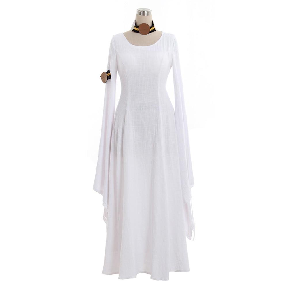 Medieval Dress Cosplay Long Sleeves White Linen Medieval Renaissance Dress 18th Century Masquerade Dress Ball Gown Costume ruffles 2029 gaess medieval dress costume cartoon character costumes dress medieval dress