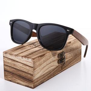 adb414ba36 BARCUR 2018 Black Polarized Sunglasses Mens Glasses Wooden