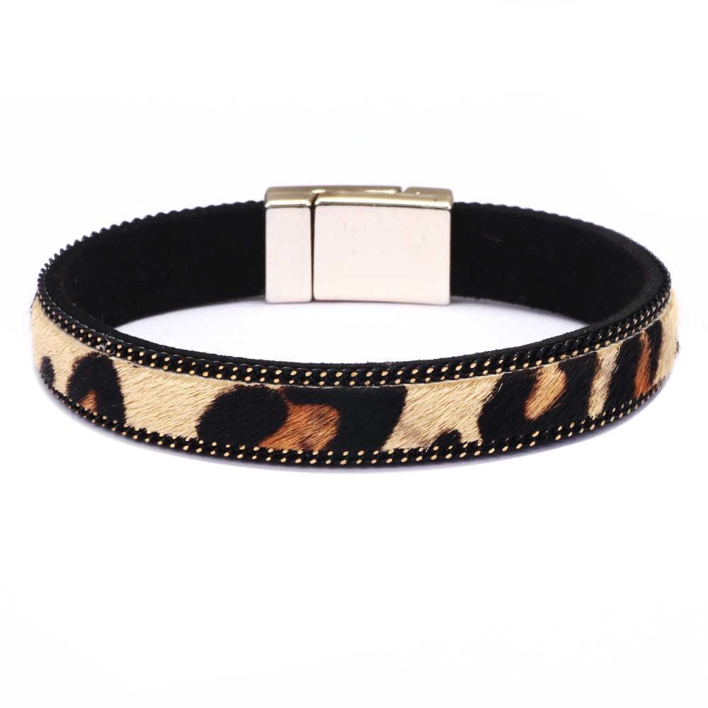 Moda kobiety Leopard biżuteria bransoletka pleciona skóra Handmade bransoletka brązowy ze stali nierdzewnej Zapięcia magnetyczne Wrist Band prezenty