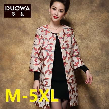 Plus size 5XL Jacquard 2016 Spring Outwear Women Trench Coat loose straight wrist-length sleeve o-neck print trench outerwear trendy scoop neck letter print plus size tank top for women