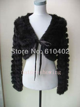 Free shipping Real rabbit fur knitted coat jacket Short jackets Natural BLACK