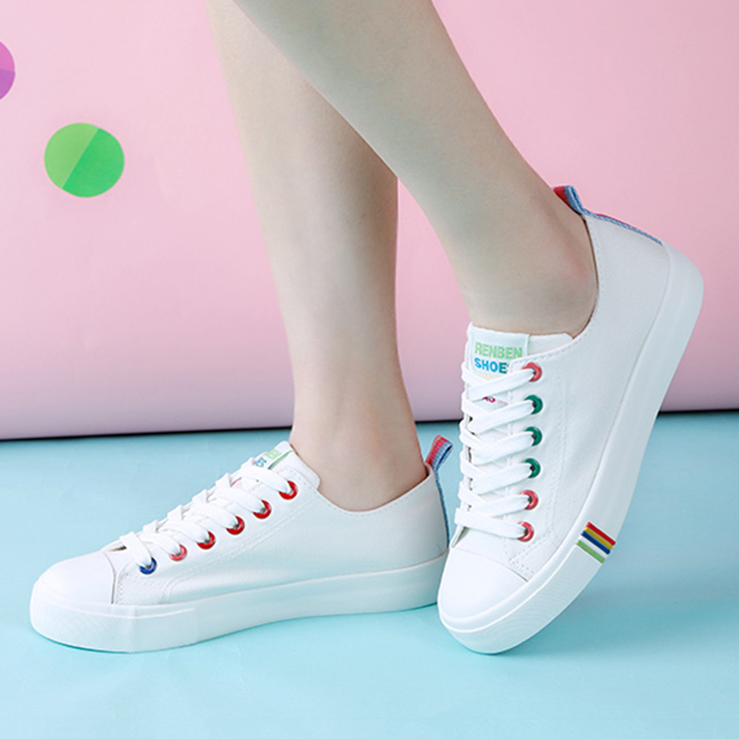 2018 New Spring and Summer Breathable Shoes Women Flat Canvas Shoes Female White Board Shoes Casual Shoes Female 2018 new canvas shoes spring summer women shoes genuine leather canvas shoes female round toe flat shoes lace up female canvas s