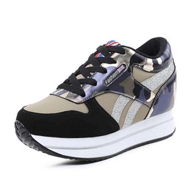 Envío Gratis Nuevos Zapatos de Las Mujeres Cuñas Aumento de la Altura Casual Zapatos Lladies Moda Primavera Otoño Atan Para Arriba Los Zapatos Para Las Mujeres 55TXJ