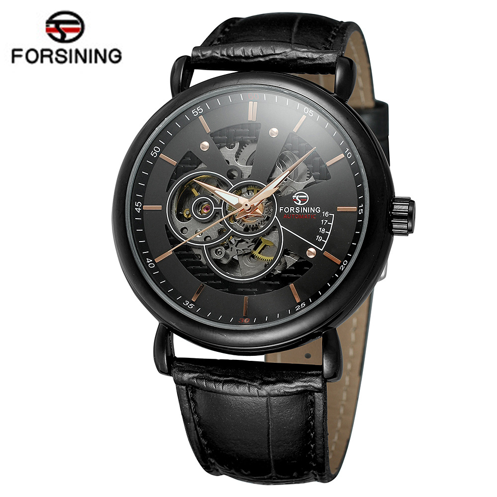 FORSINING Top Luxury Brand Wristwatches New Fashion Watch Men Skeleton Hand-Wind Mechanical Watch Classic Clock Relojes Hombres 2017 new fashion men binkada top brand gold luxury wristwatches self wind automatic mechanical calendar leather watch clock