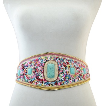 Bohemian Elastic Belt Accessories Belts f02846ee759da375bf7e2a: Brown|Colorful