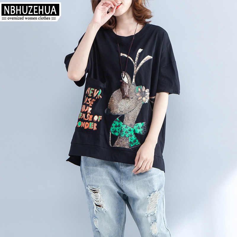 82de756fe6 ... NBHUZEHUA 7G787 Cotton Linen Women T-Shirt Kawaii Deer Print Korean T  Shirt Woman White ...