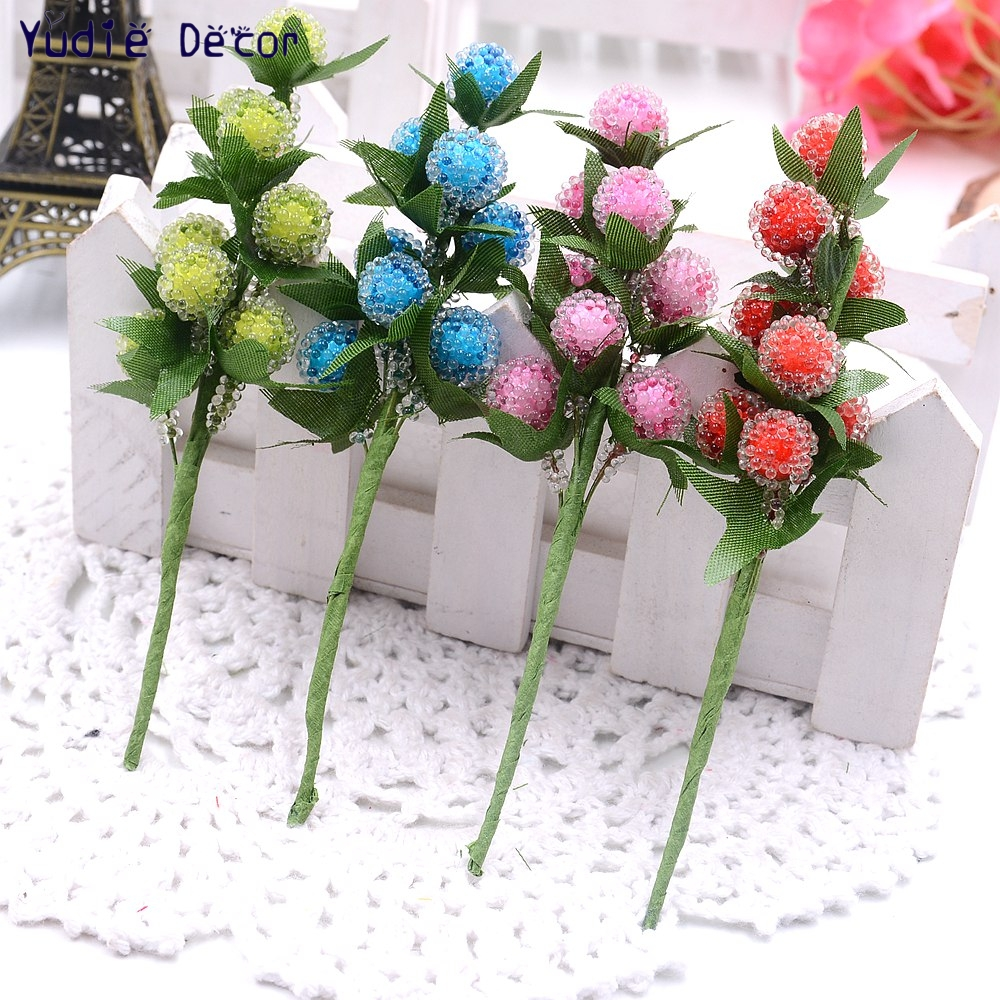 96pcslot Valentine Gift Artificial Plastic Strawberry Flowers Bouquet Artificial Non Toxic Flowers For Wedding Decoration In Artificial Dried