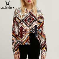 a54e7c8671f80 Весенняя мода коммутируют цепи печати нагрудные с длинным рукавом и  пуговицы Modis для женщин рубашка Blusa