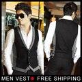 Новое поступление мужчины жилет тонкий жилеты мужская встроенная досуг жилет свободного покроя бизнес куртка топы три кнопки M-XXL