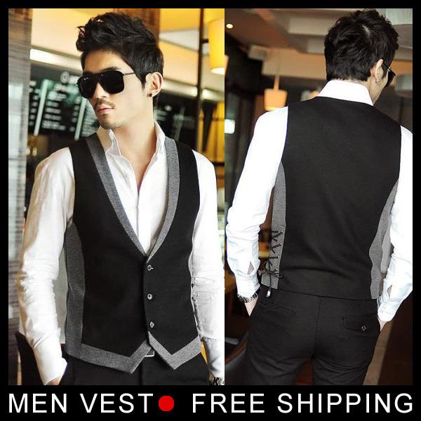 Nova chegada homens Vest Slim vestido coletes embutida lazer colete Casual Jacket negócios Tops três botões M-XXL