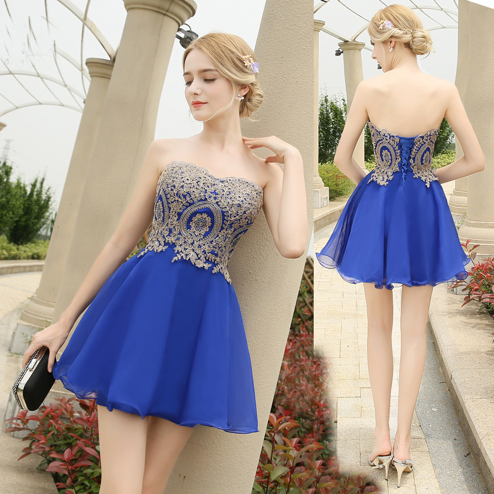 ADLN 2019 New Fashion Royal Blue vestido de noiva Short Design Lace Up Bridal Party Cocktail Dress A-line Chiffon Gown