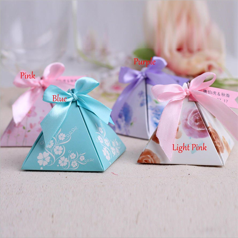 Free Shipping 30Pcs Triangular  Wedding Favors And Gift Candy Box/Bonbonniere Chocolate Box Wedding Decorations Party Supplies