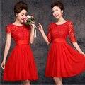 Nova verão 2017 elegante vermelho bide fenda decote vestidos de festa de renda projeto curto cocktail dress vestidos