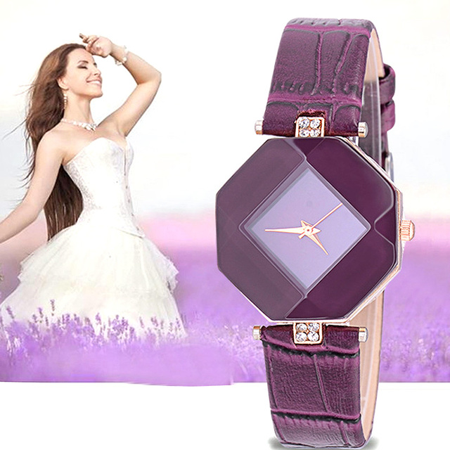 Fashion Crystal Women Watches Minimalist Casual Blue Red Black White Purple Simp