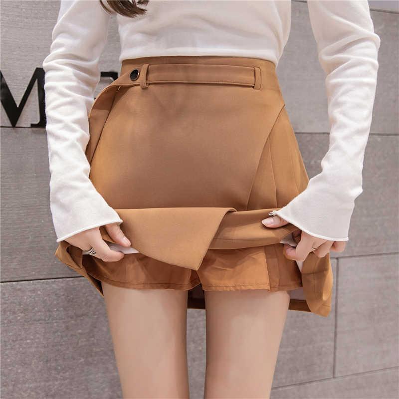 2019 Весна Лето Новые мини юбки женские модные с высокой талией трапециевидные плиссированные юбки женские повседневные короткие юбки