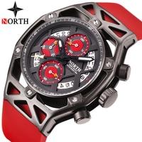 Северная Для Мужчин Хронограф Спортивные часы Для мужчин Элитный бренд Повседневное каучуковый ремешок Творческий военный кварцевые часы