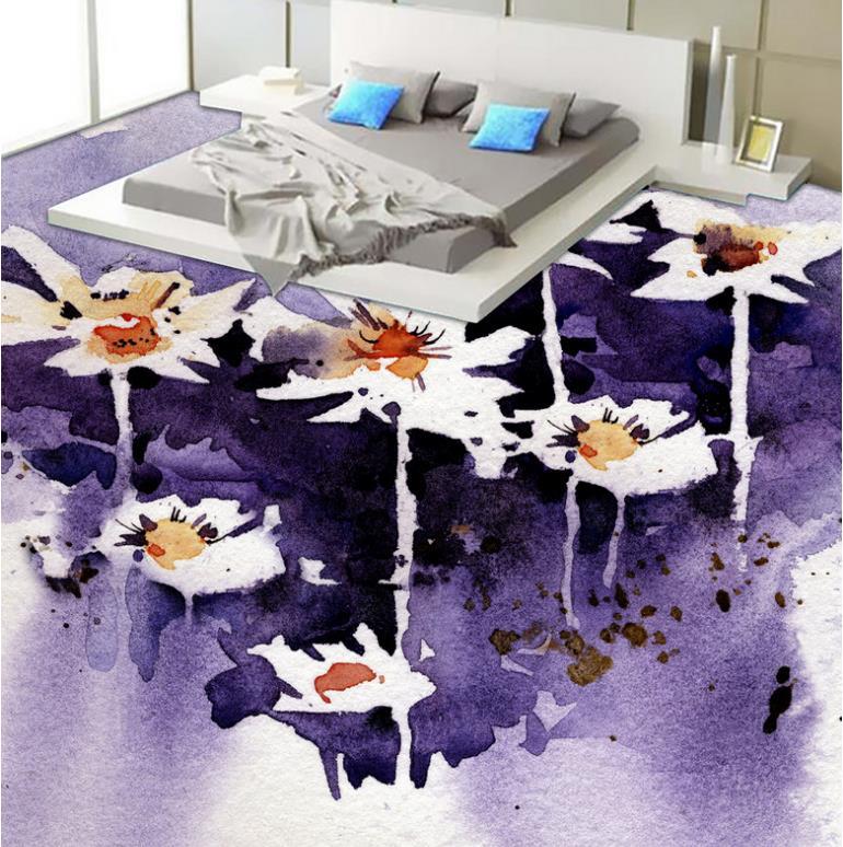 цена на Watercolor Style 3D Waterproof Wall Floor paper Flowers 3D Wallpaper Living Room Bathroom Non-slip 3D Flooring