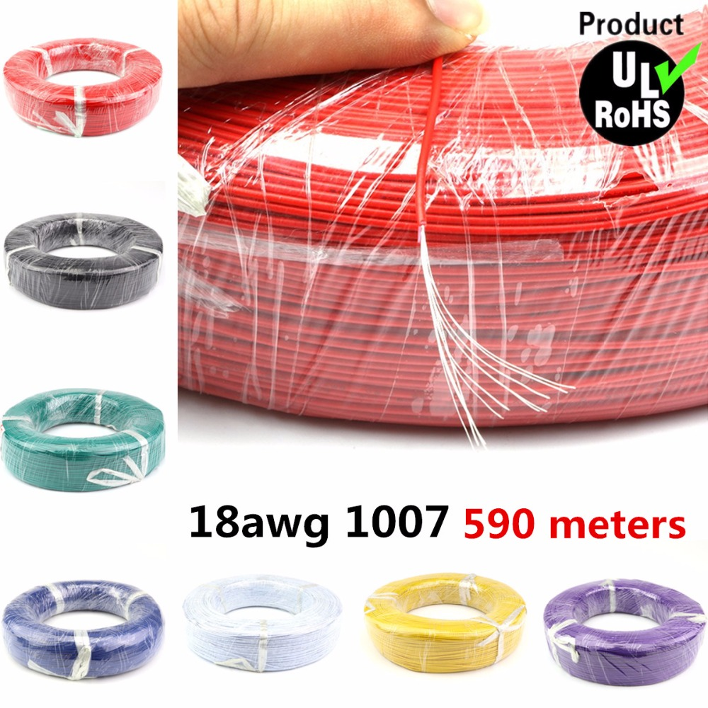 590 Meters a roll Flexible Stranded of 18AWG 10 Colors <font><b>UL1007</b></font> OD 2.1mm Environmental PVC Electronic Wire DHL Shipping image