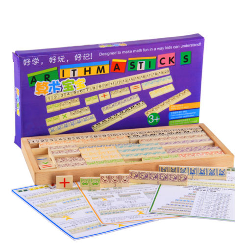Candice guo wood math puzzle Wooden toy baby gift arithmasticks Montessori Arithmetic game learn digital mathematics number 1set candice guo multifunctional dora scene digital clock toy educational wooden puzzle baby time early learning 1pc