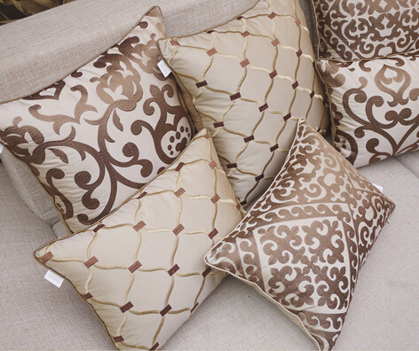 SALE European luxury embroidered beige headboard cushions sofa