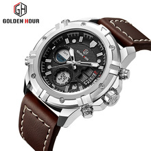 Goldenhour Sport Watch Men Luxury Top Brand Mens Watches Quartz Dual Display Wristwatch Luminous Alarm Leather Relogio Masculino